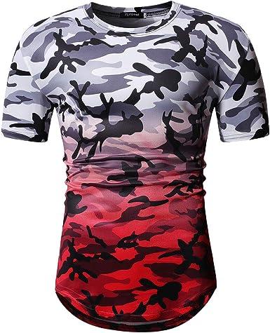 Camiseta Hombre,Gusspower Camiseta de Camuflaje Gradiente Hombre Militares Camisetas Deporte Ropa Deportiva Camisa de Manga Corta de Slim Fit Casual para Hombres Tops Blusa: Amazon.es: Ropa y accesorios