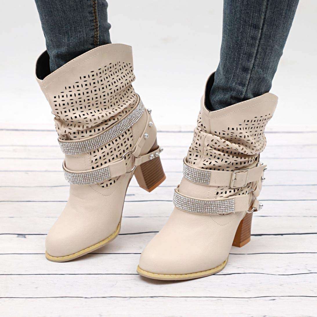 Creazrise Womens Winter Hollow Out Strap Buckle Boot Heel Rivet Mid Calf Boots