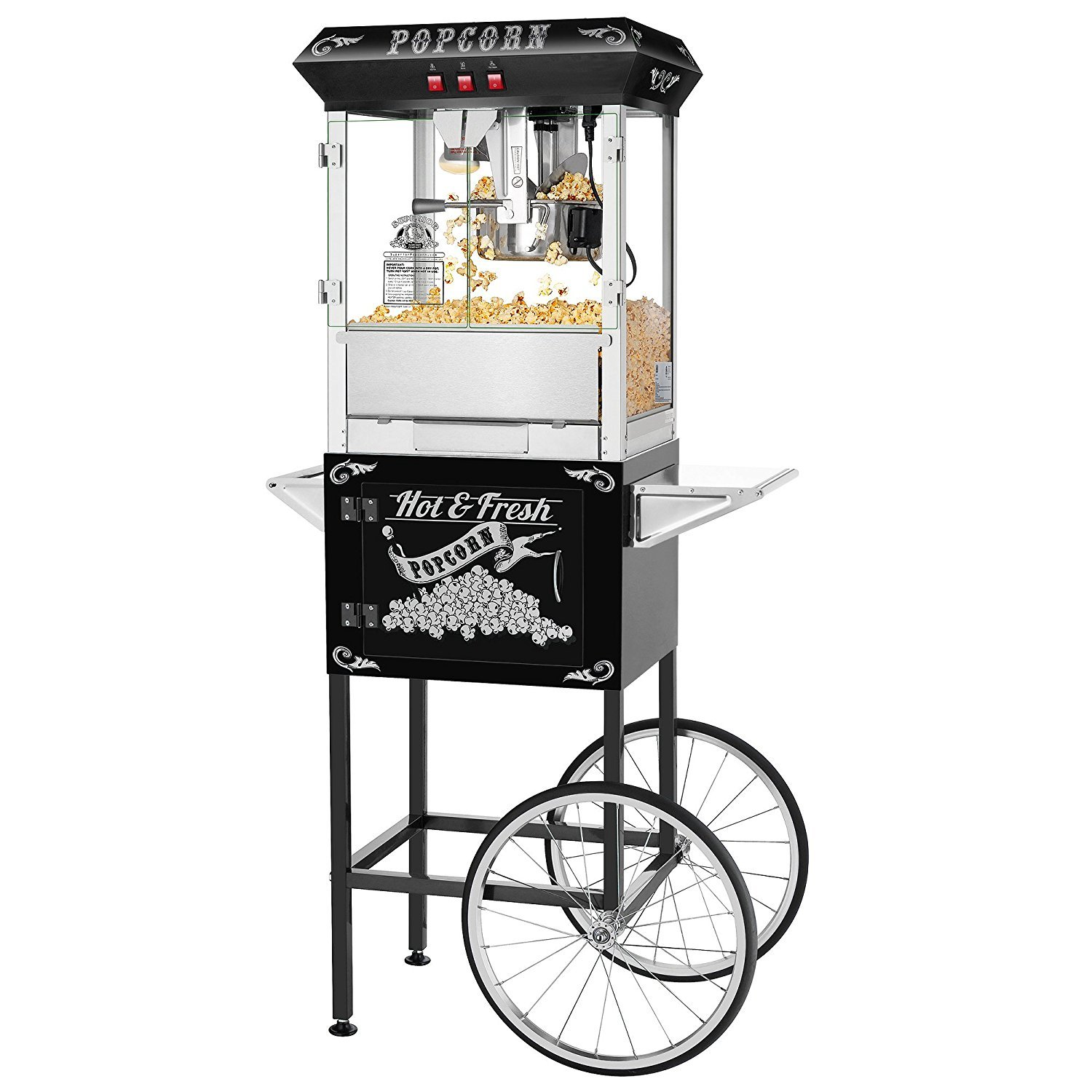 Hot and Fresh Popcorn Popper Machine With Cart-Makes Approx. 3 Gallons Per Batch- by Superior Popcorn Company- 8 oz., Black