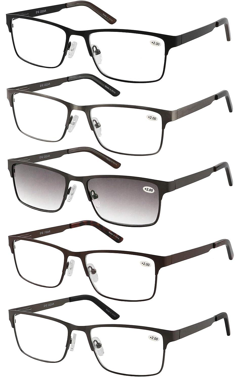 2.00 Amcedar 5-pack Gafas de lectura Hombres Estilo de marco Rectangular Acero Inoxidable Materiales Metal Bisagras de Resorte incluye Gafas sol de Lectura