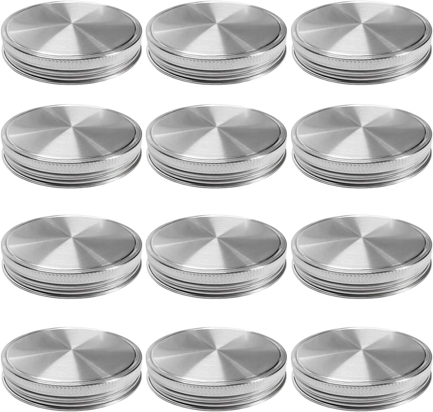 Stainless Steel Mason Jar Lids, Storage Caps with Silicone Seals for Wide Mouth Size Jars, Polished Surface, Reusable and Leak Proof, Pack of 12 (12-Pack Wide Mouth stainless steel)