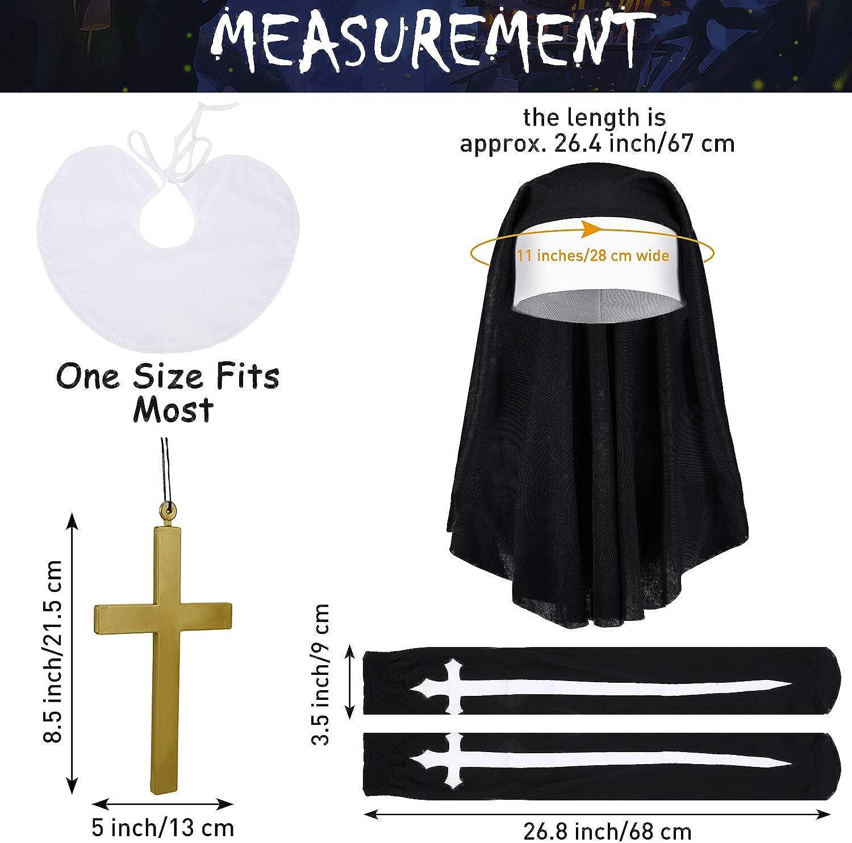 Halloween Nun Costume Nun Hat Nun Habit Costume Accessory Set Plastic Gold Cross Necklace White Nun Collar Cross Print Stockings for Women