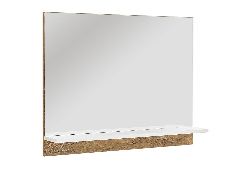Bianco Nobilitato 80X14X62,5 H cm FMD Moebel GmbH Sorrento S31 Specchio Rovere Spazzolato