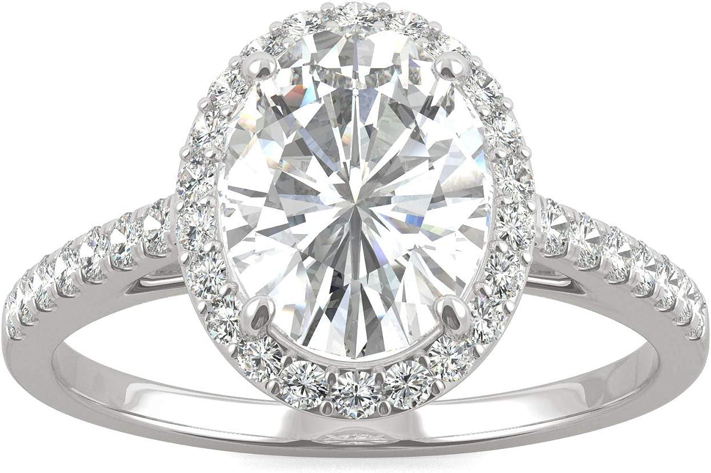 Charles & Colvard Forever One anillo de compromiso - Oro blanco 14K - Moissanita de 9.0 mm de talla oval, 2.388 ct. DEW