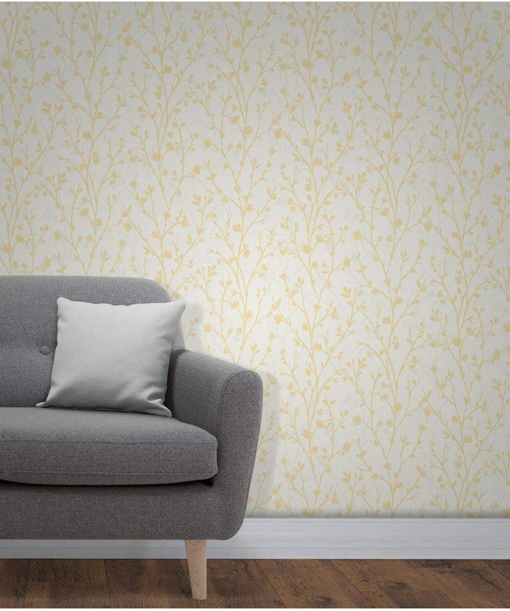 Papel pintado color amarillo Fine D/écor FD42158 Twiggy Sidewall