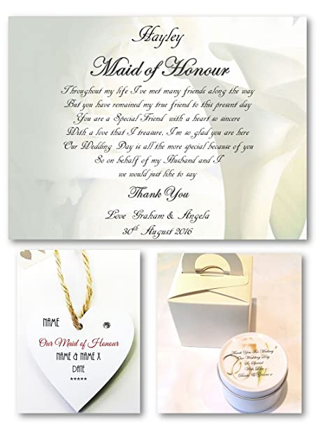 personalised maid of honour poem scroll with scented candle mini