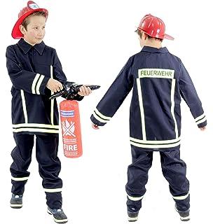 Feuerwehr Kostüm Florian Kinder Schwarz Uniform zu Fasching Mottoparty Spielen