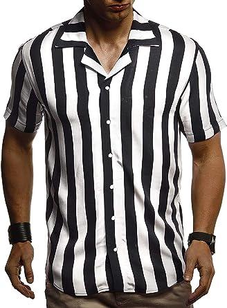 Camisa para Hombre, Camisa a Rayas para Manga Corta Collar ...