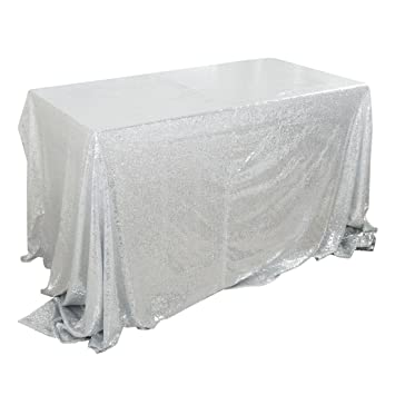b606491d94 uxcell テーブルクロス テーブルカバー 食卓カバー ぎらぎら スパンコール 結婚式 パーティー 装飾 150x300cm 長方形 シルバー