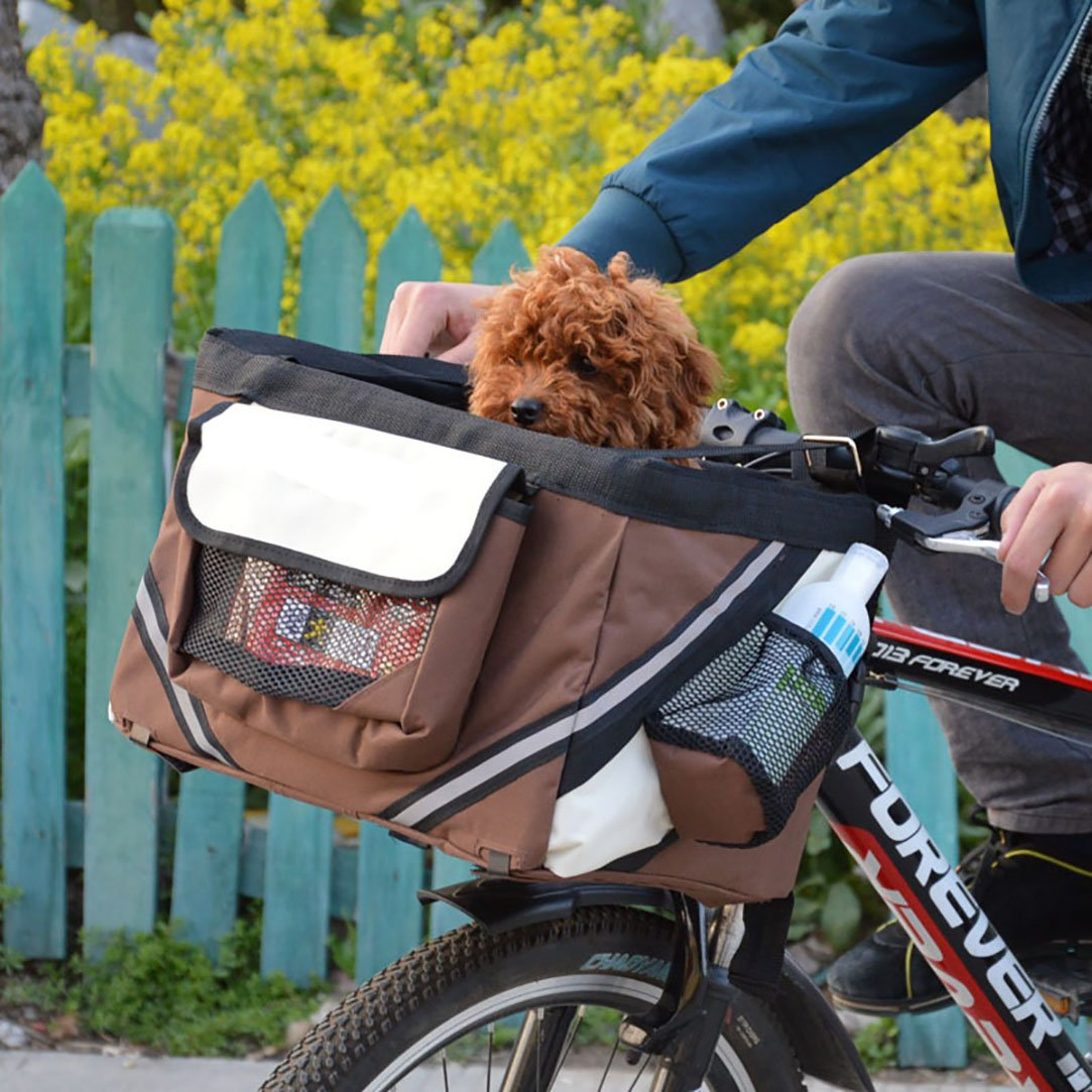 Pet Bicycle Basket Dogs Cats Bicycle Bag Travel bag For Small Pets (Blue) cipway