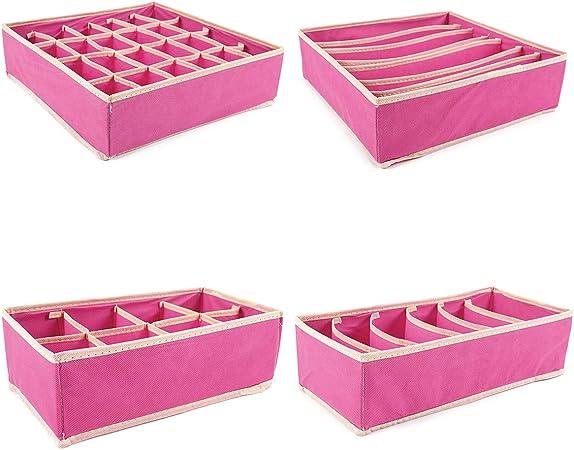 Juego de 4 Caja de Almacenaje Plegable Caja de Tela Caja Organizador Armario para Ropa Interior Bufandas Pañuelos Calcetines Color Rosa Fucsia: Amazon.es: Hogar