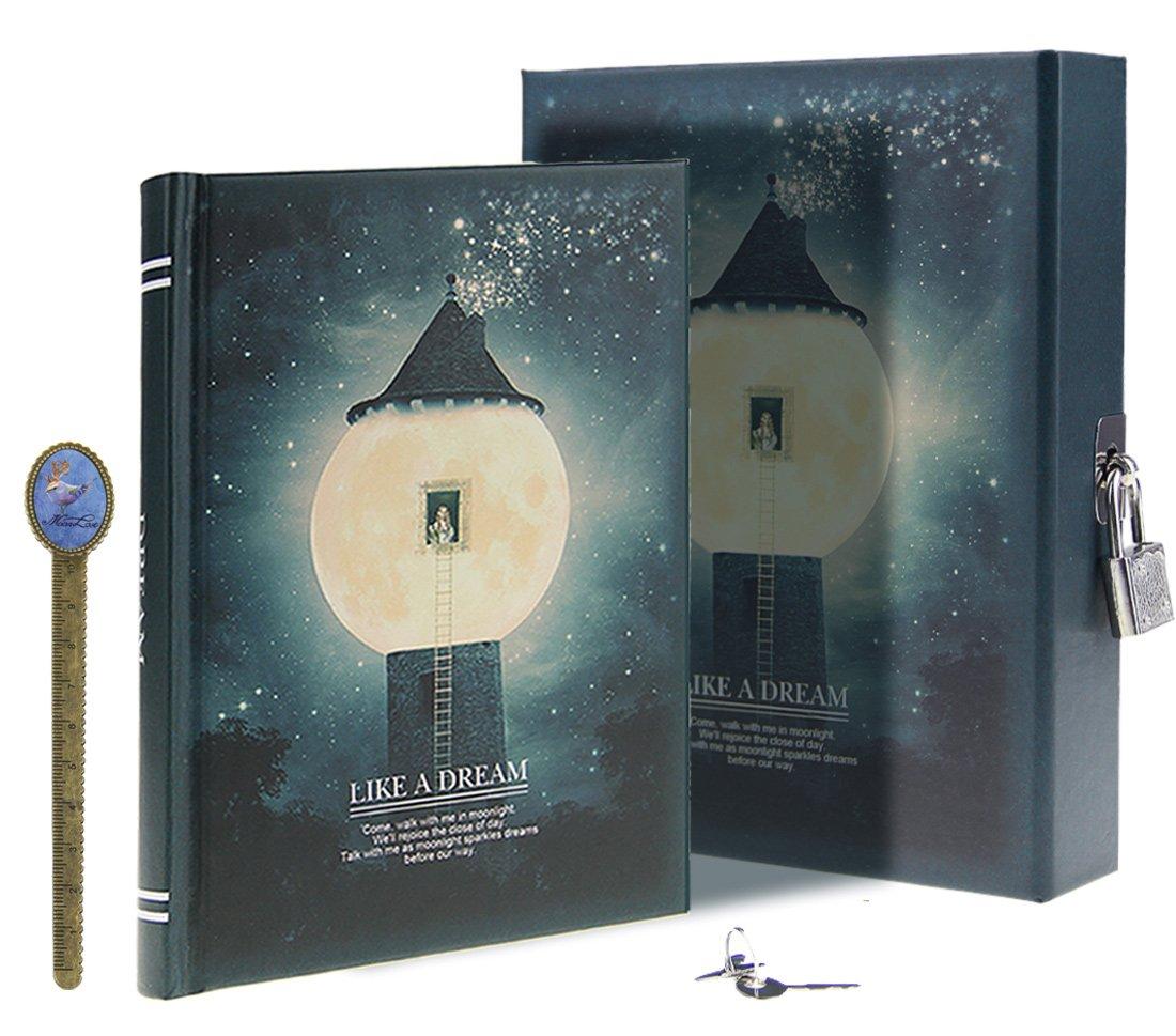LY, Like a dream, diario segreto, modello: chiaro di luna, taccuino per appunti e disegni, con lucchetto, 288 pagine, con custodia, formato A6 Misura unica Blue, Dream Ballon Georgie