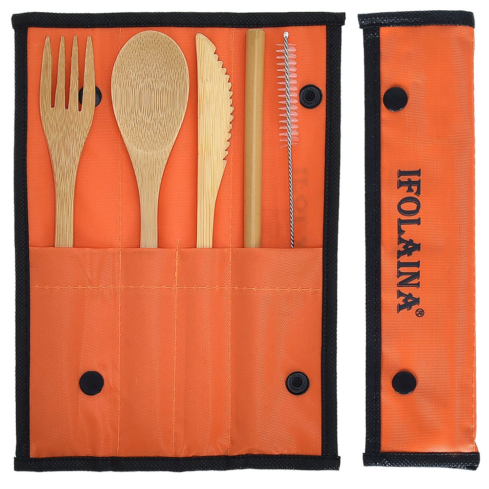 IFOLAINA Bamboo Flatware Set Utensils Reusable Travel Set Tableware Natural Wooden Dinnerware Camping Cutlery Knife Fork Spoon Straw with Cleaning Brush