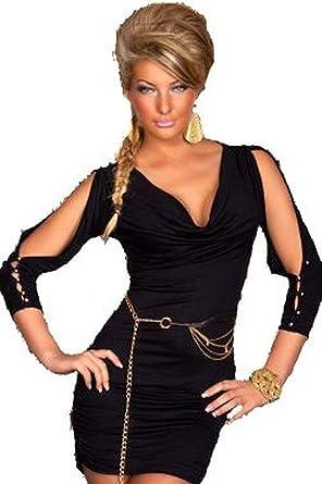 Ladies Little Black Dress Sexy Plunge Neckline Cowl Neck Slit
