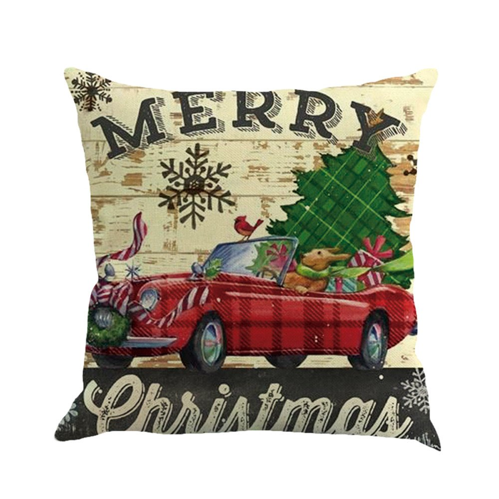 F_topbu Christmas Pillow Cases,Happy Festival Print Vogue Office Travel Plane Accessory Retro Home Decor Soft Cushion Cover