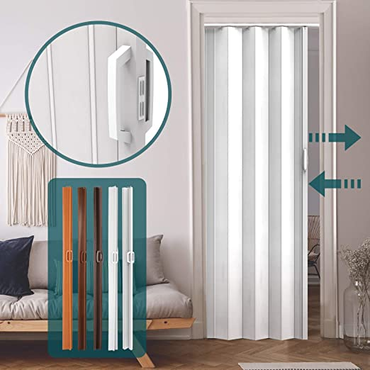 Jago - Puerta plegable de PVC - Blanco - Aprox. 203 x 82 cm ...