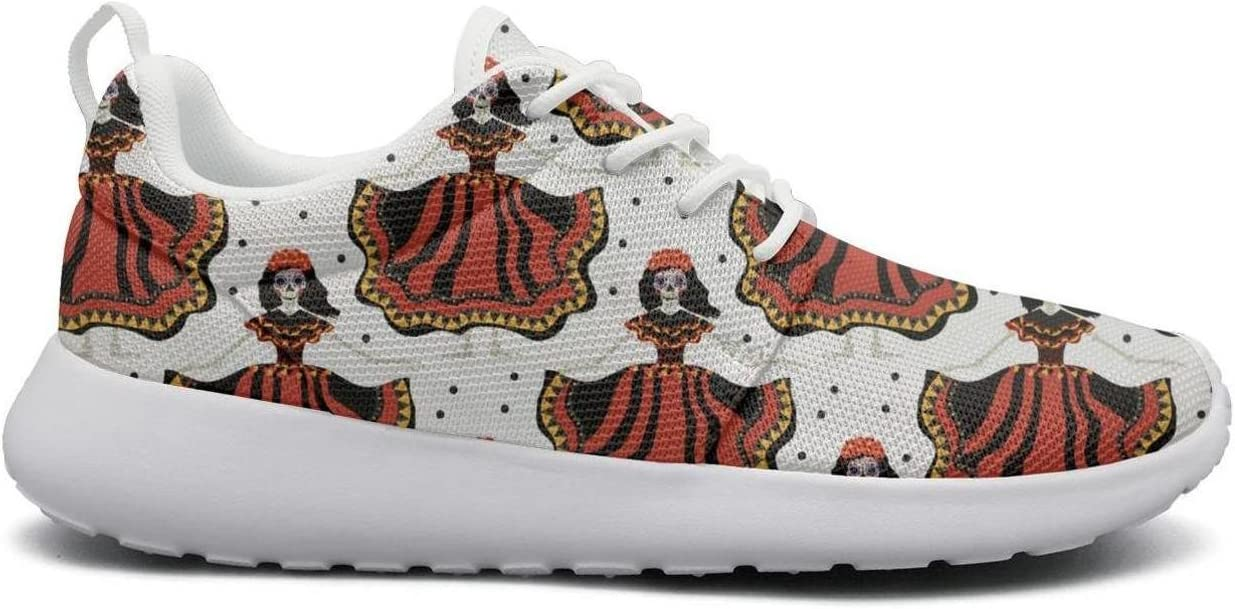 Eoyles gy Dia de red Skull Mexican Calavera Image Womens Slip Resistant Lightweight Running Walking Shoes