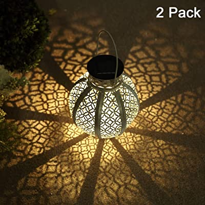 GLAMOURIC 2 Pack Hanging Solar Lights Outdoor Retro Metal Waterproof Lantern LED with Handle, Decor Solar Light, Patio Path Light(White)