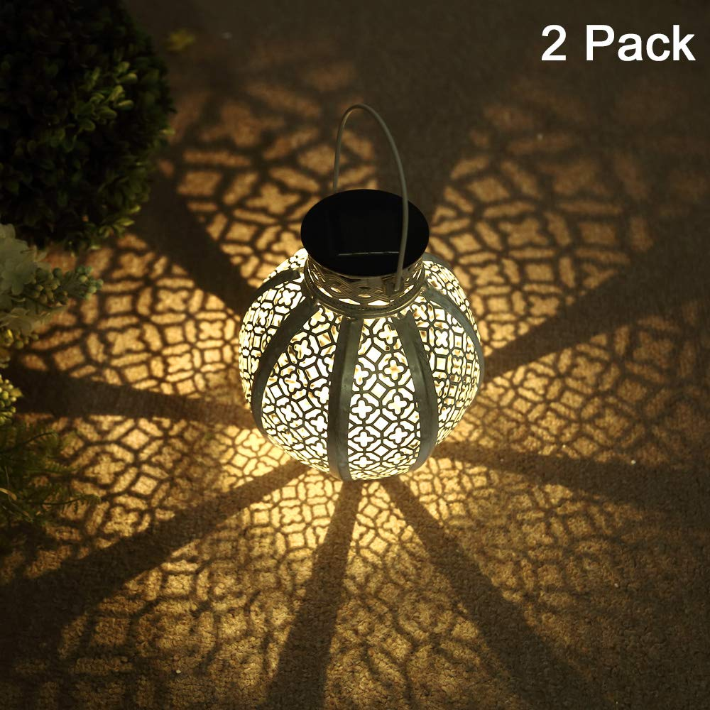 GLAMOURIC 2 Pack Hanging Solar Lights Outdoor Retro Metal Waterproof Lantern LED with Handle, Decor Solar Light, Patio Path Light(White) by GLAMOURIC