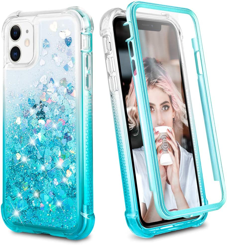 Ruky iPhone 11 Case, Glitter Clear Full Body Rugged Liquid Cover with Built-in Screen Protector Shockproof Protective Girls Women Phone Case for iPhone 11 6.1 inches 2019 (Gradient Teal)