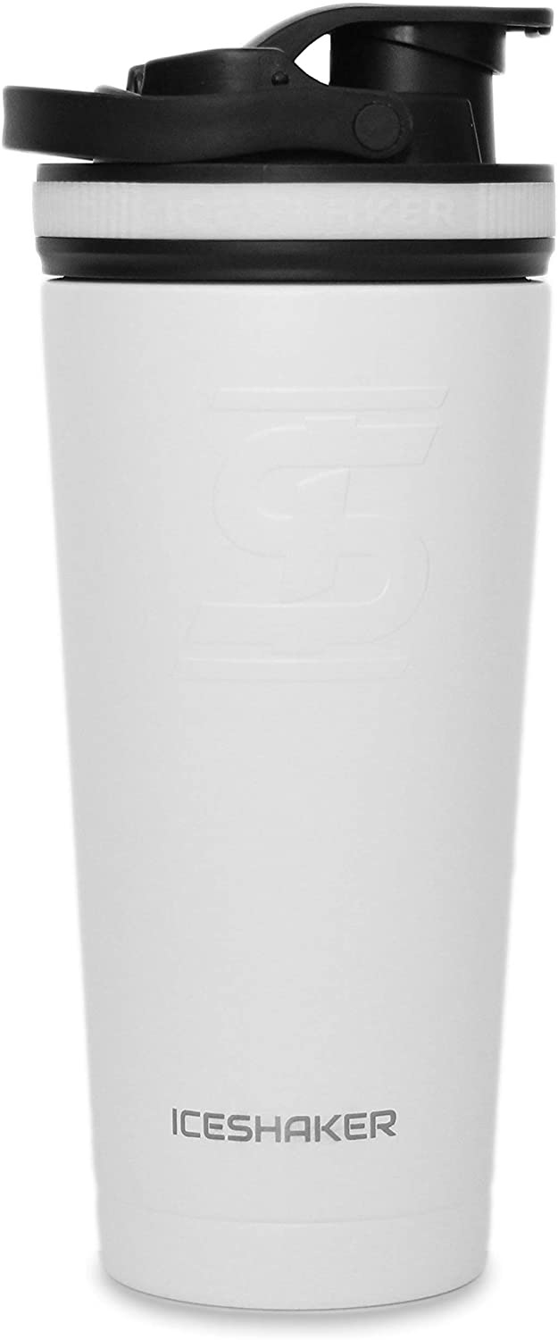 Ice Shaker Stainless Steel Insulated Water Bottle Protein Mixing Cup (As seen on Shark Tank) (White 26oz)