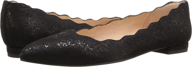 French Sole FS/NY Women's Tequila Pointed-Toe Flat B06Y2885NT 7.5 B(M) US|Black Chess Metallic Print