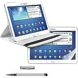 3in1: kwmobile Cover per Samsung Galaxy Tab 3 10.1 - Custodia per tablet con rotazione 360° in simil pelle - Copertina protettiva Smart Case bianco + Pellicola, cristallino + Pennino, bianco