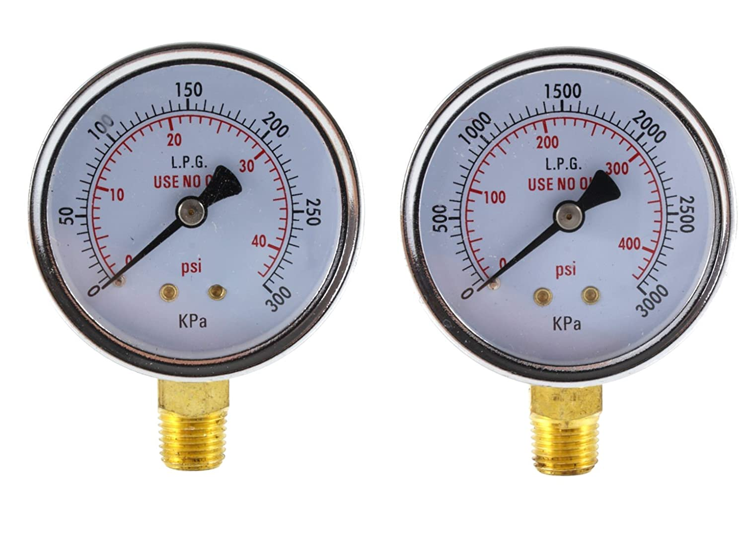 High Pressure Gauge for Propane Regulator 0-400 psi - 2.5 inches NUT