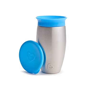 d443c4528f2 Munchkin Miracle Stainless Steel 360 Sippy Cup, Blue, 10 Ounce