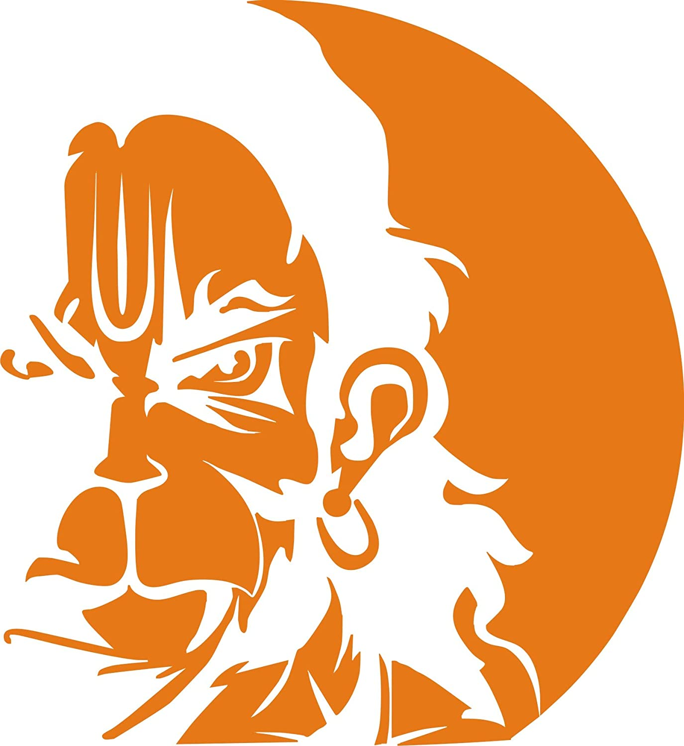 Arfa car bike stickers angry hanuman ji for stylish look 8 x 8 inch orange colour 1 piece amazon in car motorbike