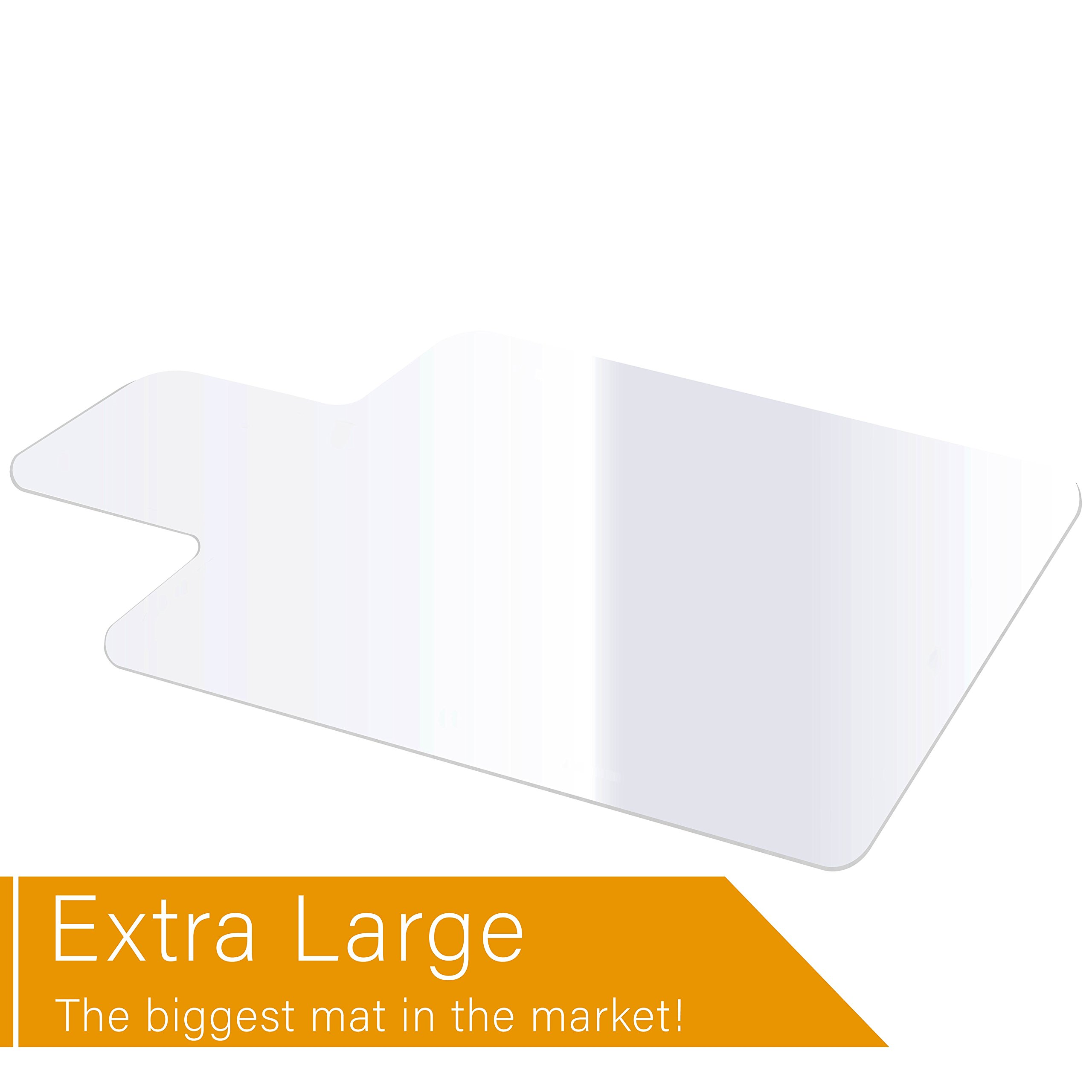 Office Chair Mat Heavy Duty for Hardwood Floor Protection Under Computer Desk Sturdy Clear Textured Top Polycarbonate Plastic Large 46'' X 60'' Shipped Rolled Up