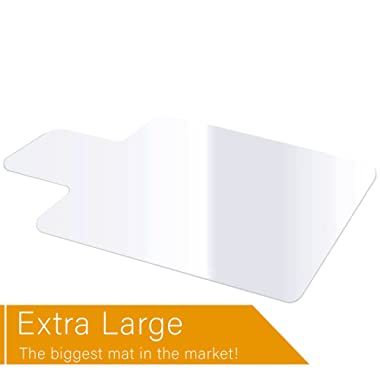 Extra Large Office Chair Mat Heavy Duty for Hardwood Floor Protection Under Computer Desk Sturdy Clear Textured Top Polycarbonate Plastic Large 46  X 60  Shipped Rolled Up