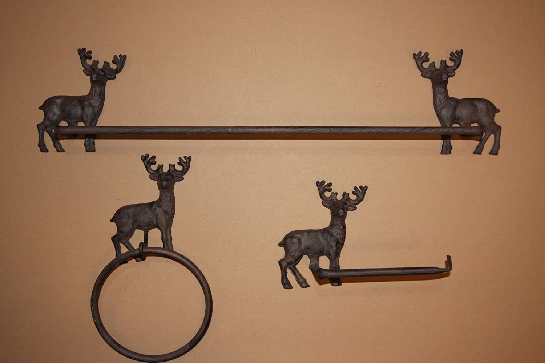 . Deer Hunter Rustic Bath Decor  Towel Bar Towel Ring TP Holder Bundle  3  Items