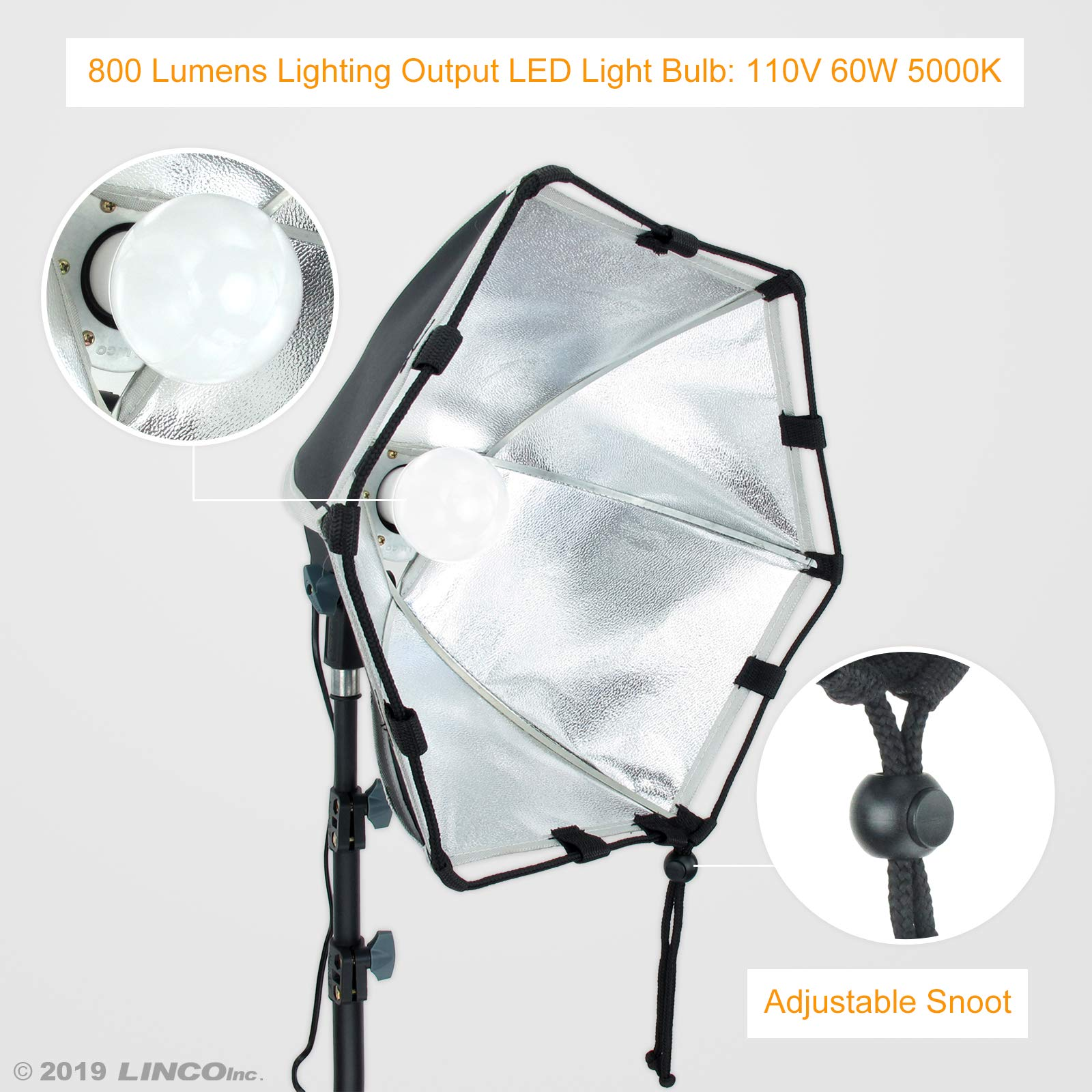 LINCO Lincostore Photography Studio Lighting Kit Arm for Video Continuous Lighting Shadow Boom Box Lights Set Headlight Softbox Setup with Daylight Bulbs 2400 Lumens AM261 by Linco (Image #5)