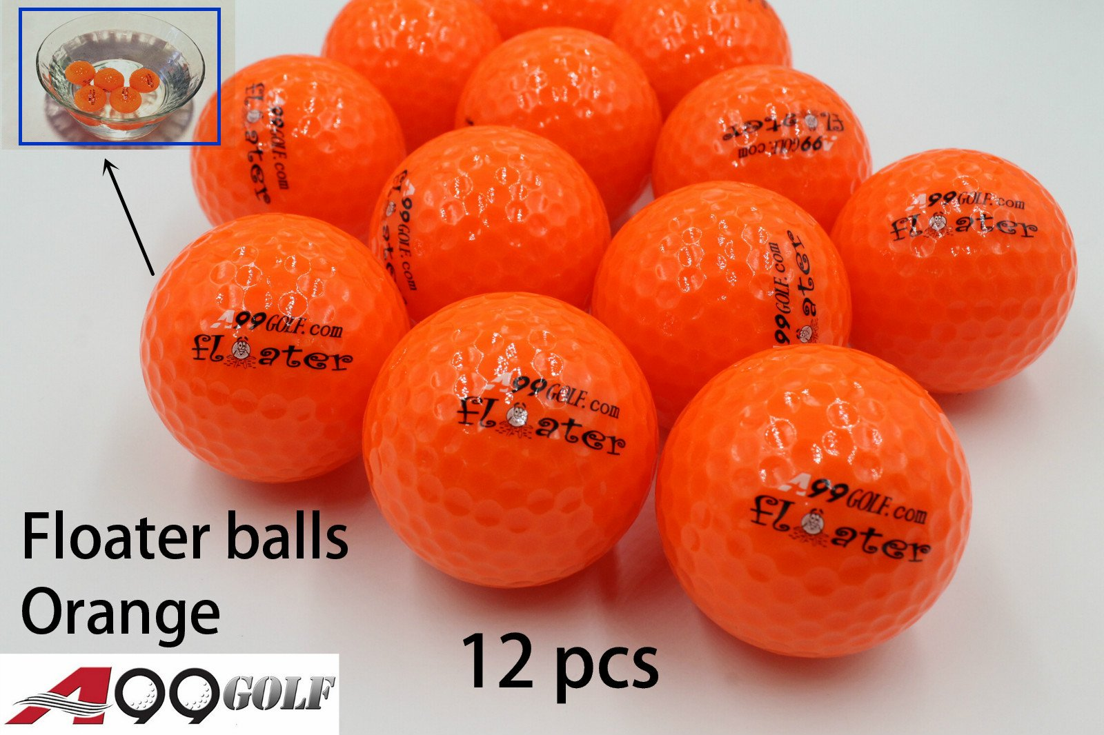 A99 Floating Golf Balls Floater Ball Float Water Range New (Orange 12 Balls/Pack) by A99 Golf