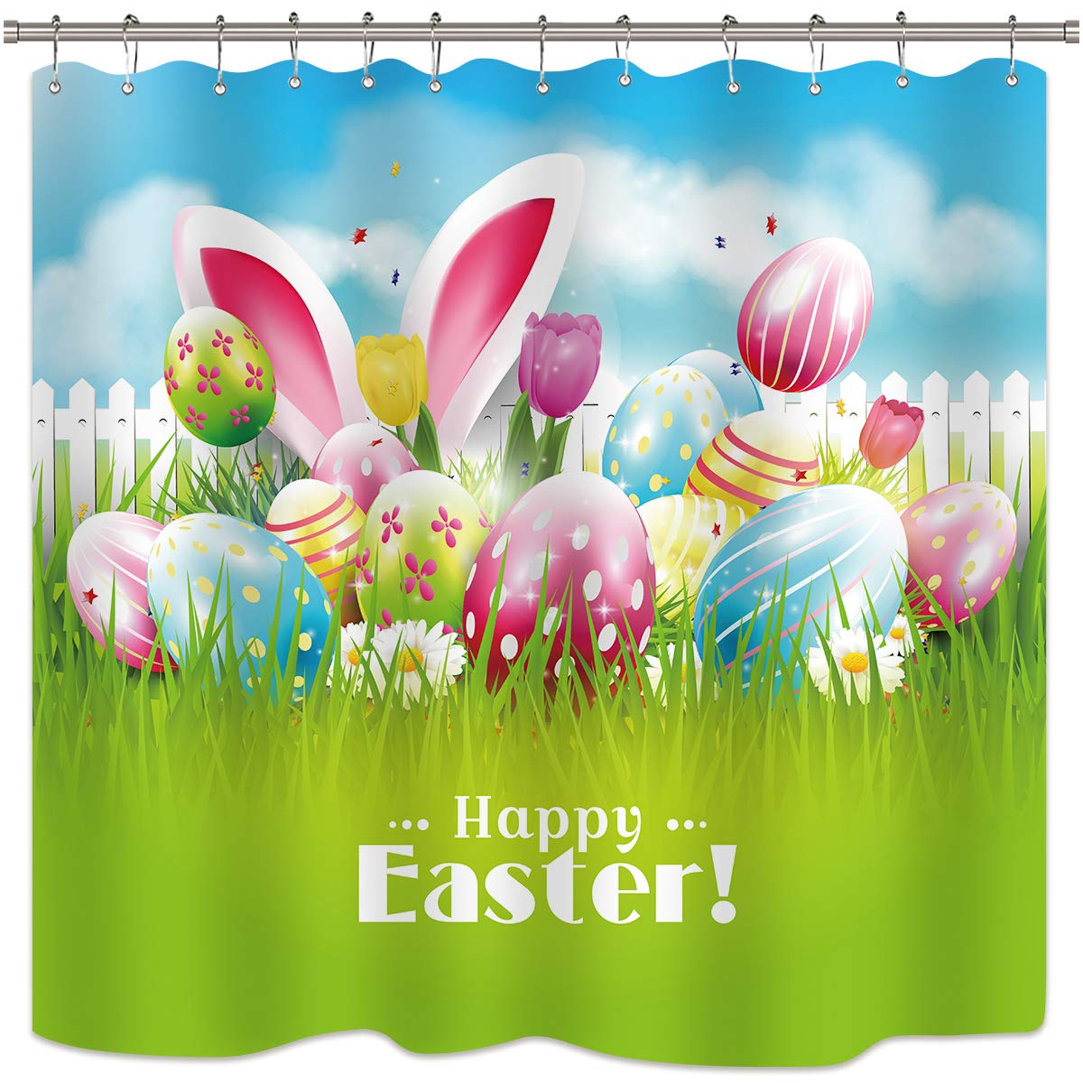 Riyidecor Easter Egg Shower Curtains Bunny Rabbit Happy Colorful Holiday Cartoon Kid Spring Flower Fabric Polyester 72X72 Inch Water Repellent Mildew Resistant Bathroom Home Decor Multicolour by Riyidecor
