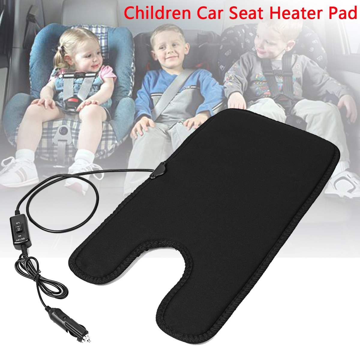 MONNY 4530cm Safety 12V Universal Auto Baby Winter Car Seat Cover Children Warm Seat Heating with Lighter and Switch