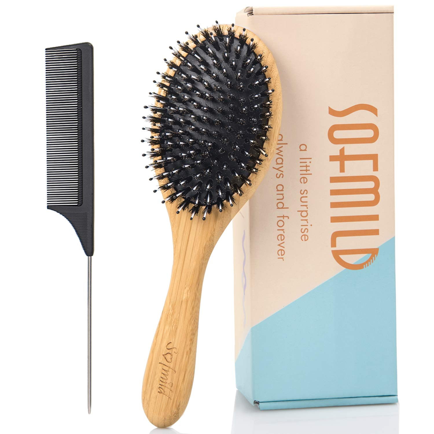 Hair Brush, Boar Bristle HairBrush Set for Thick Fine Curly Thin Hair, Oval Bamboo Paddle Nylon&Boar Bristle Brush for Women, Men, Kids. Reduce Frizz Make your Hair Smooth, Bouncy, and Shiny.