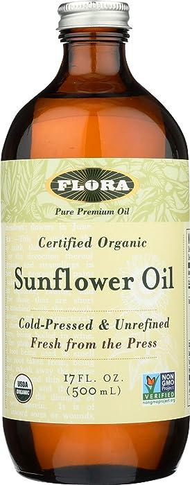 FLORA Organic Sunflower Oil 17 oz- 100% Pure Cold Pressed Artisan Oil - Non GMO & Kosher