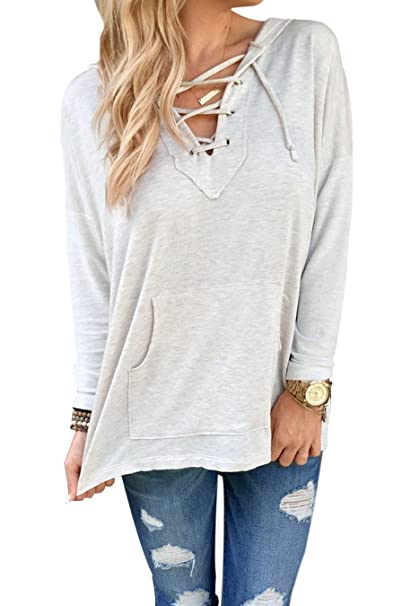 b02422954c BLUETIME Women s Loose Lace up V Neck Pullover Sweatshirt Hoodie with  Kangaroo Pocket at Amazon Women s Clothing store