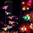 Garwarm Solar Wind Chime Outdoor,LED Mobile Wind Chime,Gifts for Mom Hanging Decorative Romantic Patio Lights for Yard Garden Home Party(Purple Yellow Butterfly)