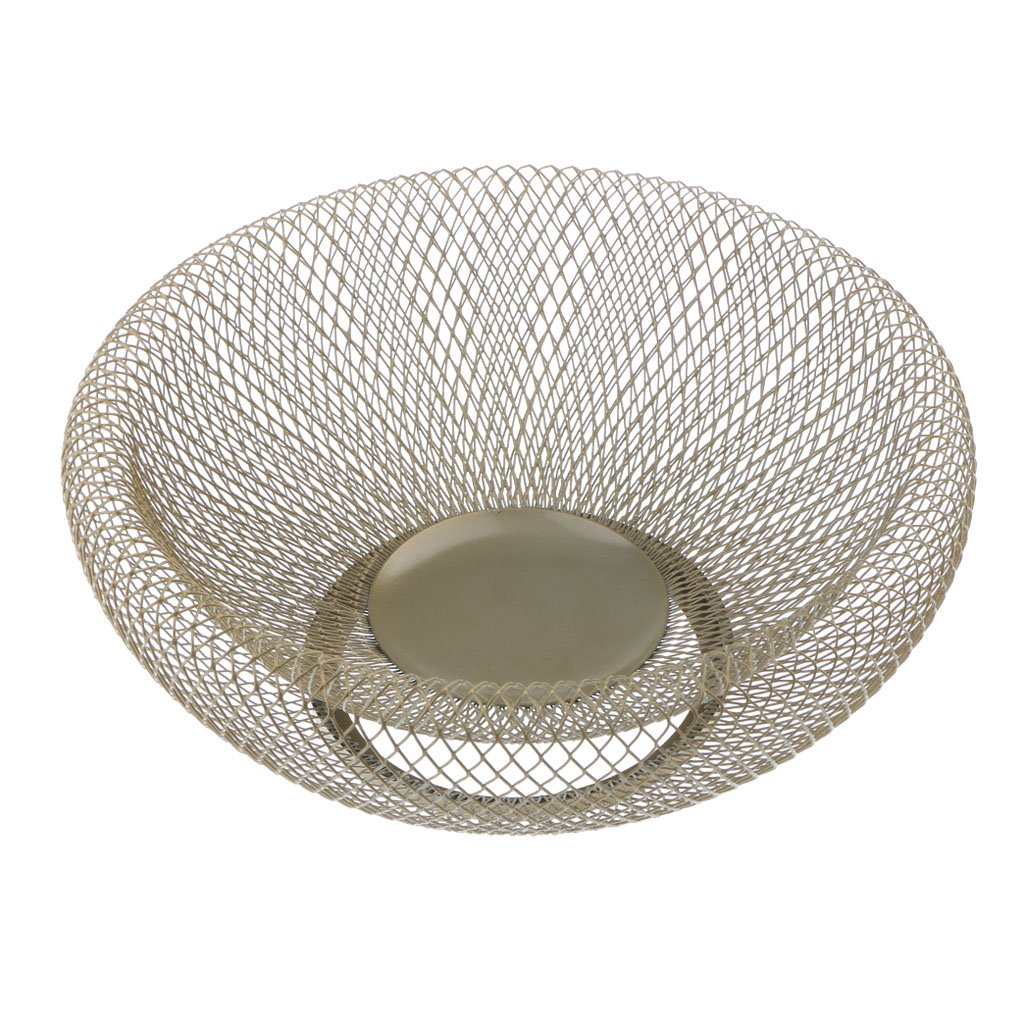 MagiDeal Iron Wire Fruit Bowl Fruit Bread Biscuit Basket Vegetable Tray Bowl for Kitchen, 9inch by 4inch - Gold