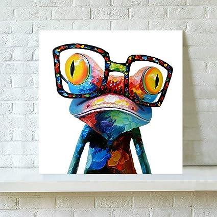 Pinturas Modernas con Marco -Rana Con Gafas, Cuadro Pintura de Pared Impresión de Moderna Lona Arte Decoración Salón Moderna Abstracto Arte en Pintado: Amazon.es: Hogar