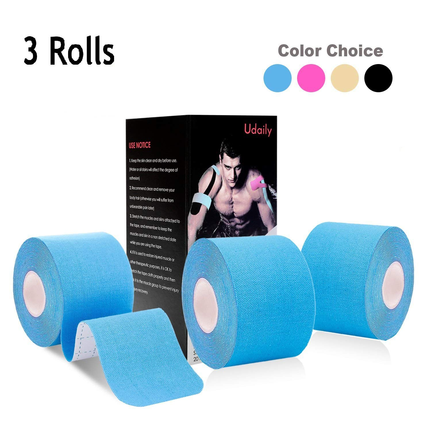 Udaily Kinesiology Tape Precut 3 Rolls Pack Water Resistant Latex Free Elastic Therapeutic Sports Tape for Knee Shoulder and Elbow Breathable