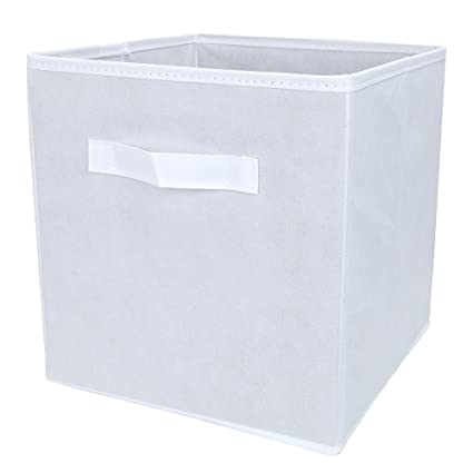 2PK Fabric Storage Basket Cubes Bins Cubeicals Containers Drawers Storage Toy Organizer with handle (White