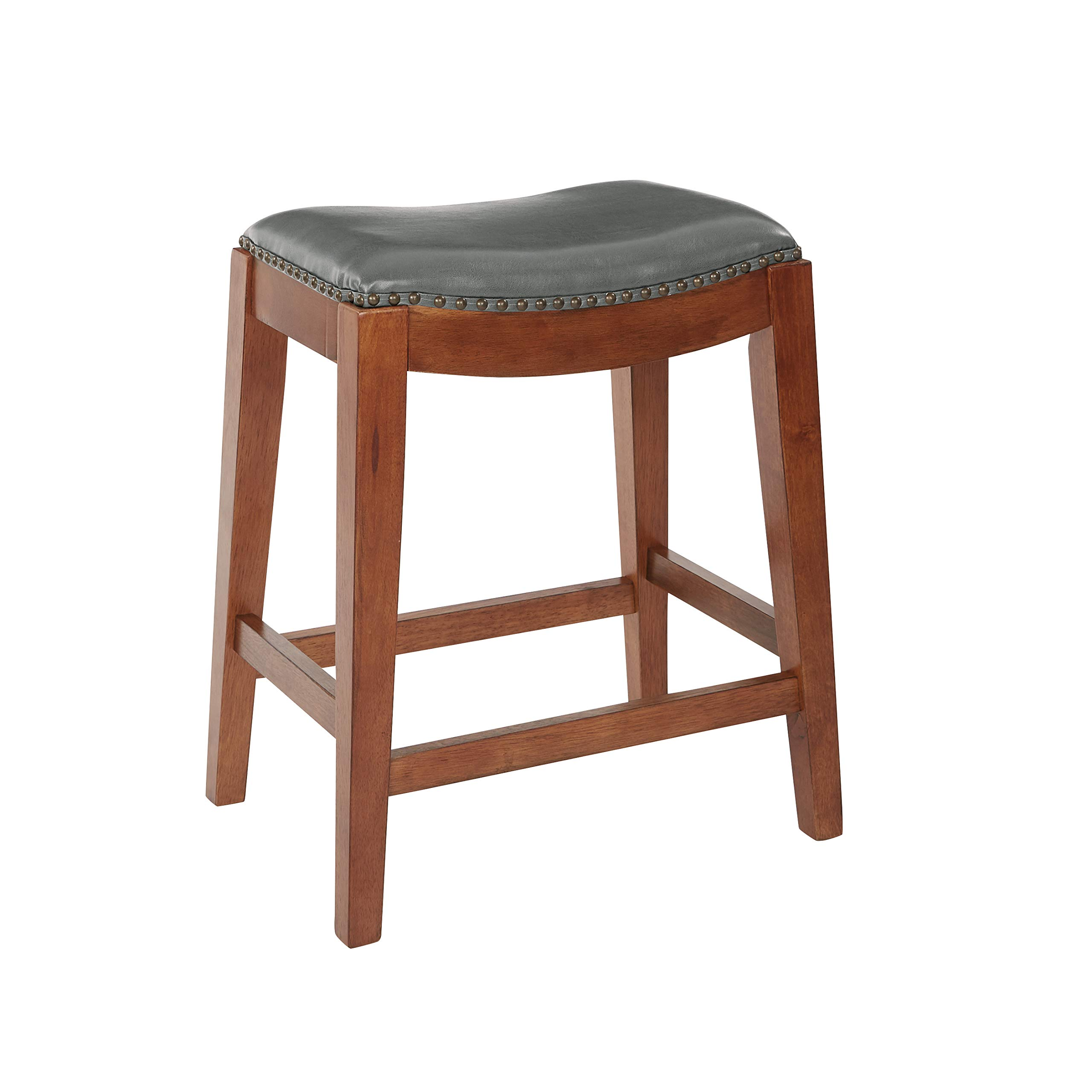Office Star Metro Bonded Leather Counter-Height Saddle Stool with Nail Head Accents and Espresso Finished Legs, 24-Inch, Pewter