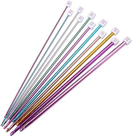 2 mm a 8 mm Juego de 11 agujas de tejer de aluminio multicolor para ganchillo tunecino o afgano