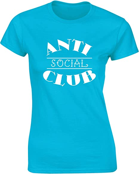 Hippowarehouse Anti-Social Club Camiseta Manga Corta Ajustada para Mujer: Amazon.es: Ropa y accesorios