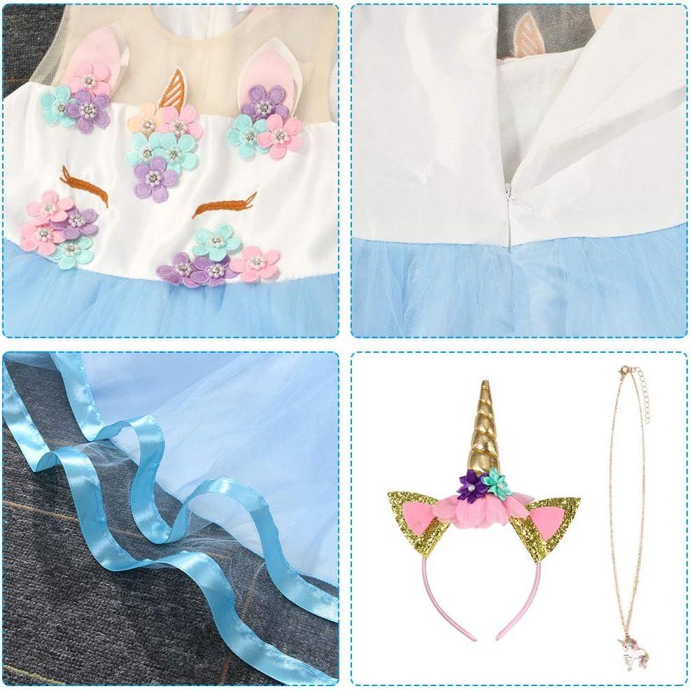 Reina Frozen Disfraz Elsa Vestido Infantil Ni/ñas Costume Azul Cosplay de Disfraz de Halloween URAQT Vestido de Princesa Elsa Cumplea/ños 100