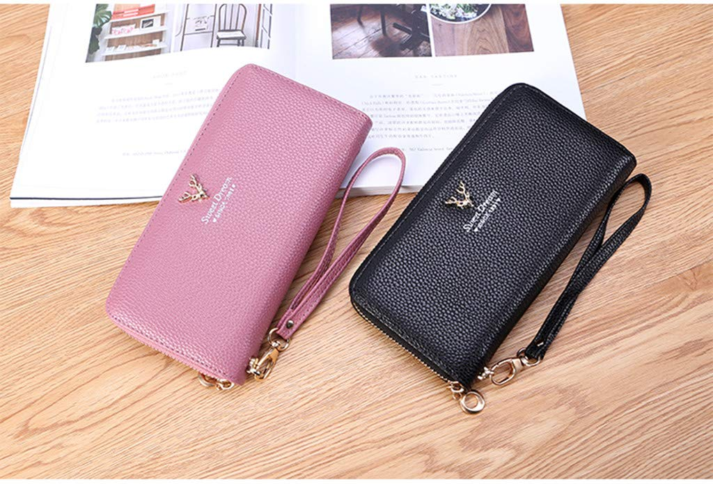 Lichee Pattern Solid Single Pull Deer Head Purse Card Package Wedding Office Occasion Daily Casual Wearing Travel Coin Hand Bag for Student Kecar❤Women Fashion Wallet Party